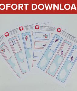 Flugzeug Flaschenetiketten und Becherschilder - Vorlage als Sofort-Download