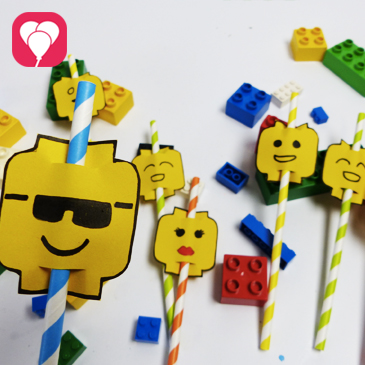 Lego Strohhalm Deko für einen bunten Geburtstagstisch