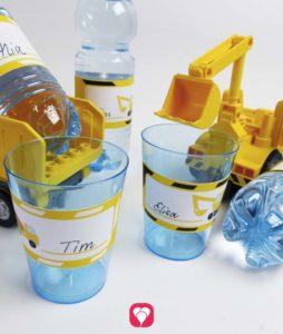 Bauarbeiter Flaschenetiketten & Becherschilder