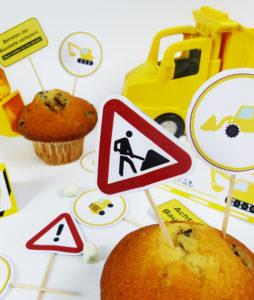 Bauarbeiter Deko Picker für Muffins, Snacks & Co.