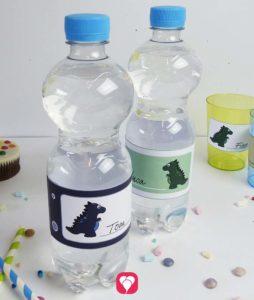 Dino Flaschenetiketten und Becherschilder zum selbst Ausdrucken