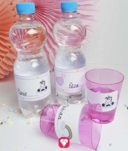 Einhorn Flaschenetiketten und Becherschilder