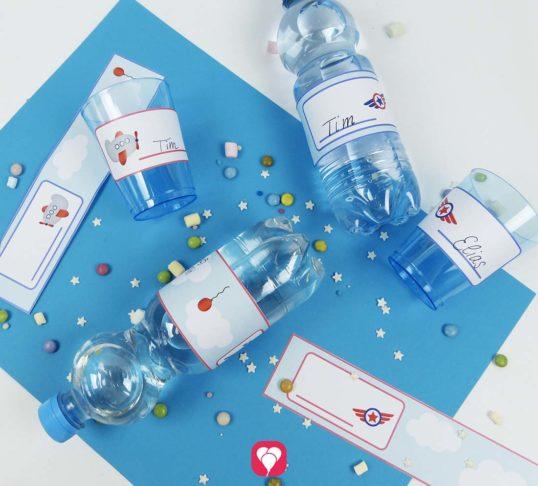 Flugzeug Flaschenetiketten und Becherschilder für den Flugzeug Geburtstag