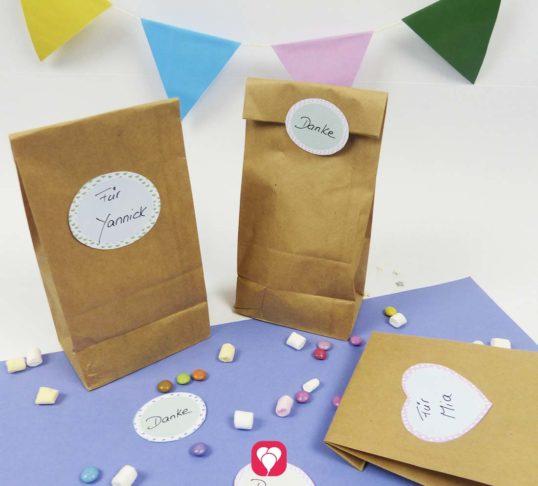 Lieblings-Sticker zum Beschriften der Give Away Tüten