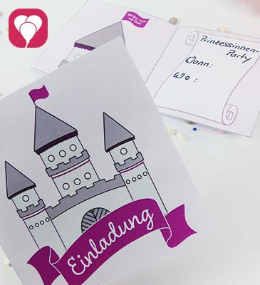 Märchenschloss Einladungskarte zum Kindergeburtstag