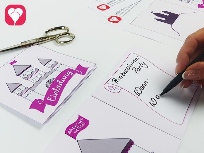 Märchenschloss Karte - Einladungstext schreiben