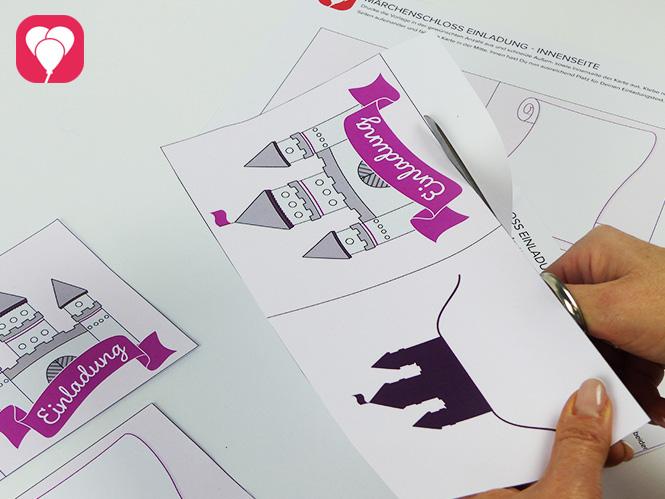 Märchenschloss Einladungskarte - Vorlage ausschneiden
