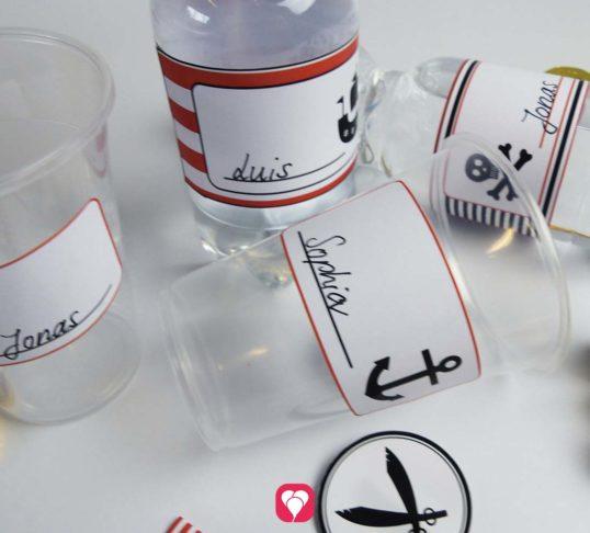 Piraten Flaschenetiketten und Becherschilder