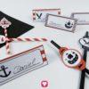 Piraten Tischkarten und Strohhalmdeko