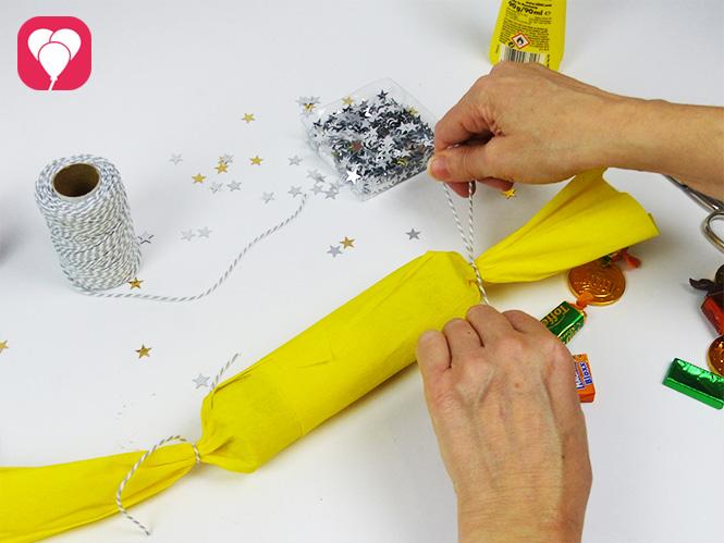 DIY Knallbonbons mit Schnur oder Bast zuschnüren