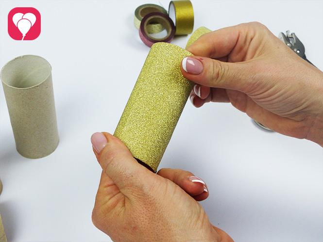 DIY Krone basteln -Klopapierrolle mit Washi Tape verkleiden