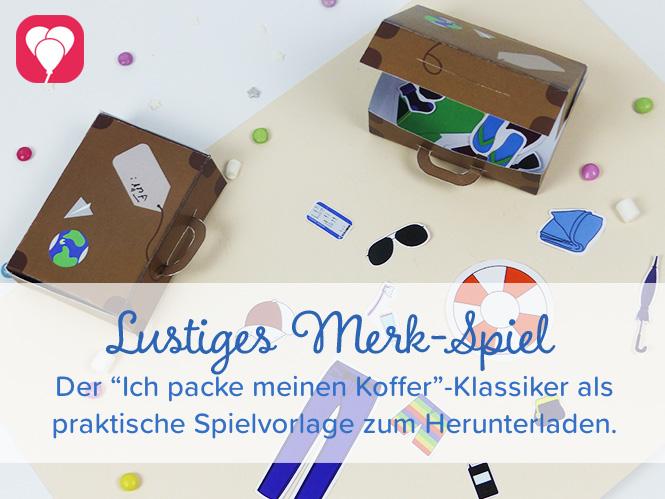 Spiele Ideen - Spielvorlage Ich packe meinen Koffer mit Dir