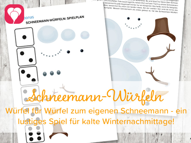 Spiele Ideen - Spielvorlage Schneemann Würfeln