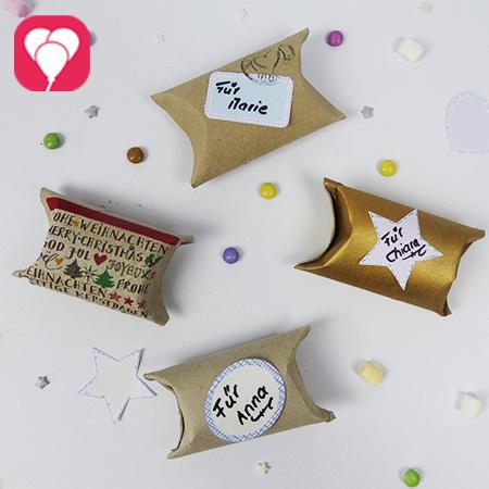 Upcycling-Idee - Geschenkverpackungen aus Klopapierrollen und Stickern zum Ausdrucken