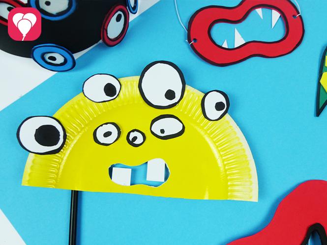 Einfache Monster Maske basteln aus Pappteller