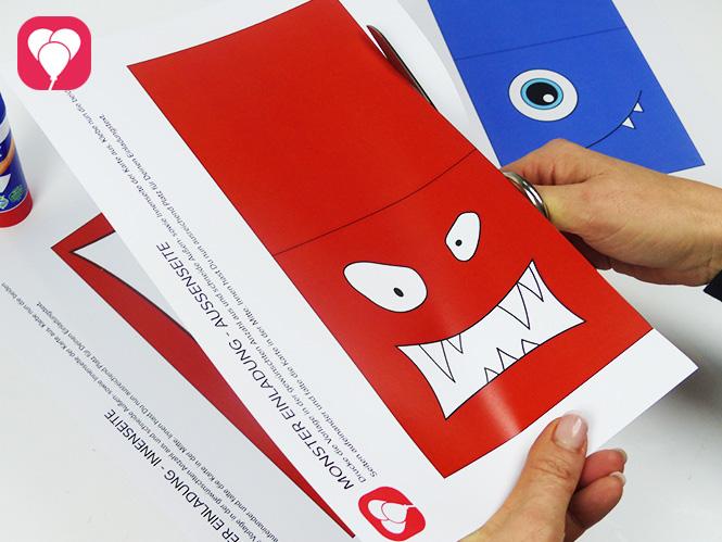 Monster Einladungskarten - Schritt 1 - Vorlage ausschneiden