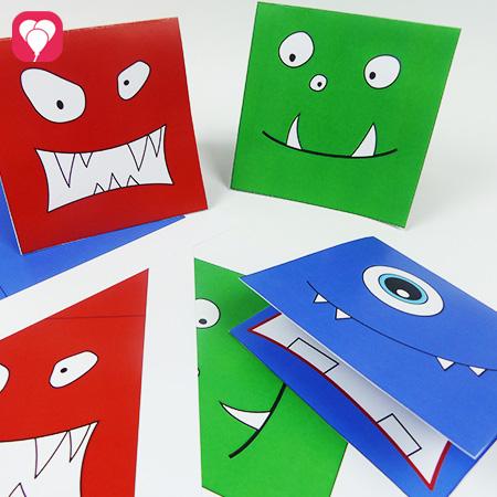 Monster Einladungskarten mit Druckvorlage