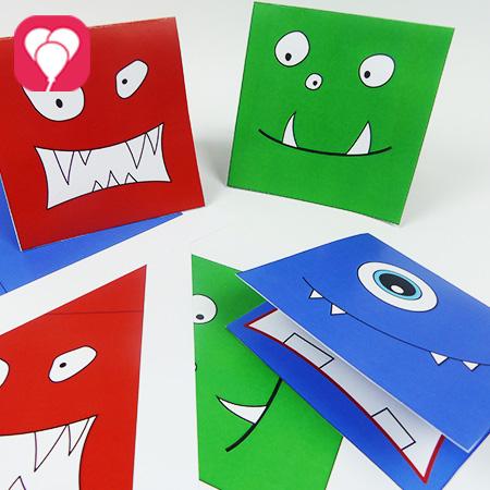 Monster Einladungskarten mit Vorlage basteln