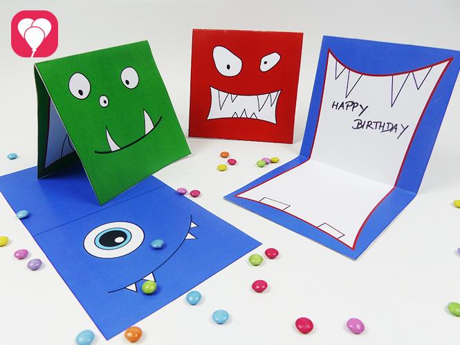 Monster Karten als Einladung Gutschein oder Grusskarte
