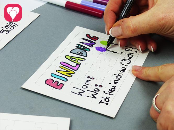 Puzzle Einladung - Einladungstext schreiben