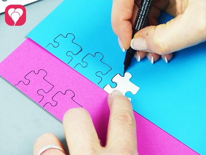 Puzzle Einladung - Namens Puzzleteile aufmalen