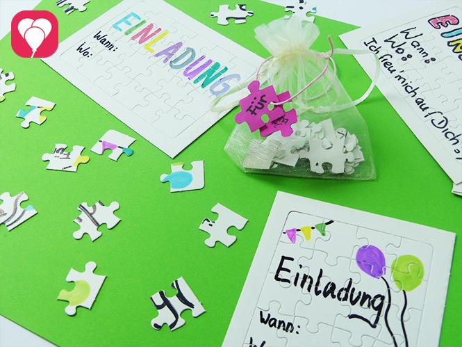 Puzzle Einladung - bune Einladung individuell gestaltet