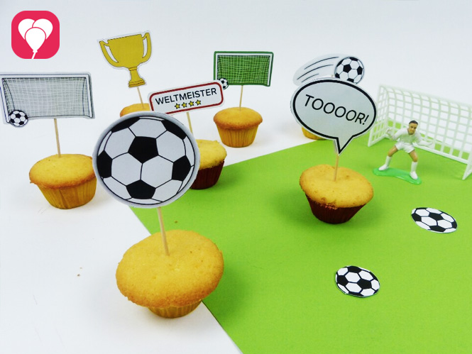 Fußball Geburtstag - Deko Picker fuer Muffins, Spiesse und Co