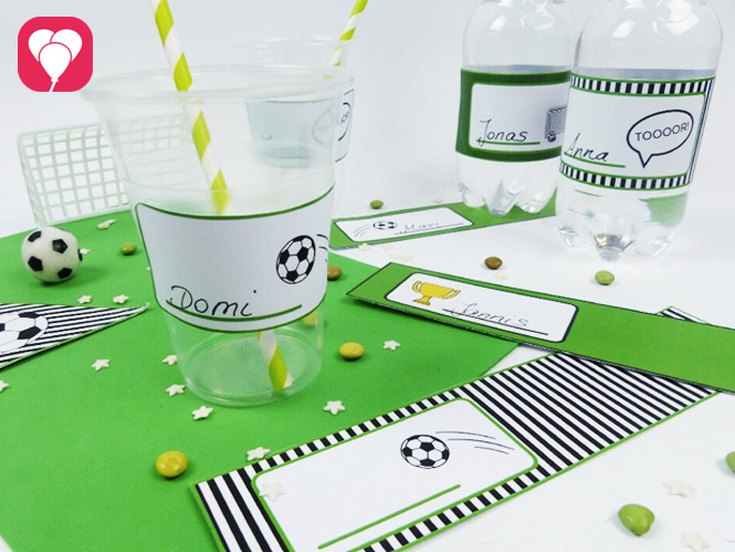 Fußball Geburtstag - Deko für Becher und Flaschen