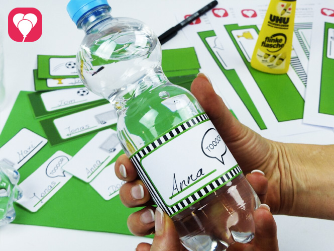 Fußball Geburtstag - Flaschenetiketten und Becherschilder zum Motto Fußball