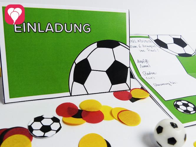 Fußball Geburtstag - Fußball Einladung mit Torwand