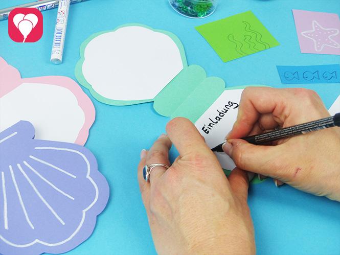 DIY Muschel Einladung basteln - Einladungstext schreiben