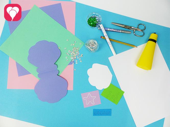 DIY Muschel Einladung basteln - Material