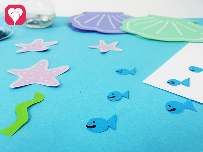 DIY Muschel Einladung basteln - Sticker zum Verzieren selbst machen