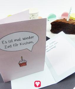 """""""Zeit für Kuchen"""" Design Klappkarte in Blau und Rosa"""