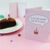 """""""Zeit für Kuchen"""" Design Klappkarte in zartem Rosa"""
