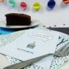 """""""Zeit für Kuchen"""" Design Postkarte als Gutschein (blau)"""