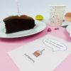 """""""Zeit für Kuchen"""" Design Postkarte als Gutscheinkarte"""