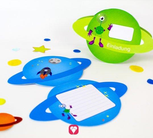 Weltraum Einladung - balloonas