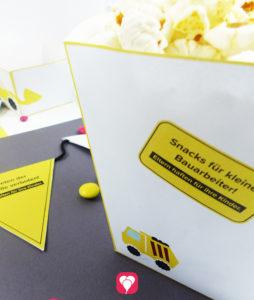 Bauarbeiter Snack Tüte für Deinen Baustelle Geburtstag