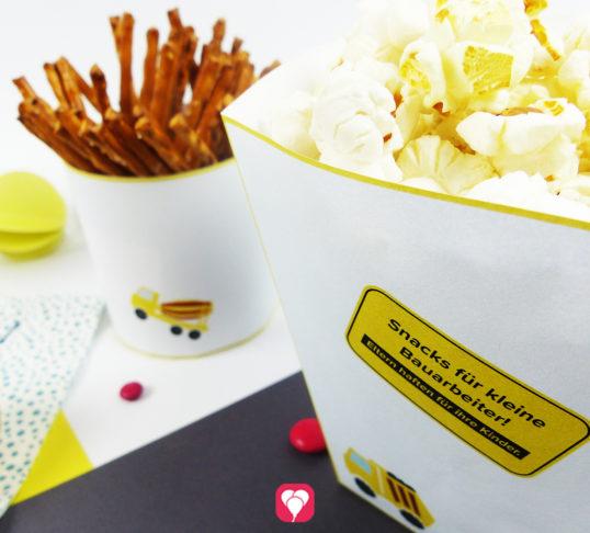 Bauarbeiter Snack Becher für Chips, Salzstangen & Co.