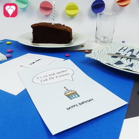 Kuchen Postkarte herunterladen und beliebig oft Grüße verschicken