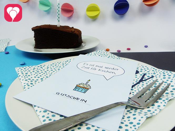 Zeit für Kuchen Postkarte als Gutscheinkarte