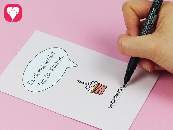 Zeit für Kuchen Postkarte herunterladen und beschriften - Einladungskarte