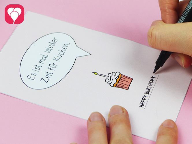 Zeit für Kuchen Postkarte herunterladen und beschriften - Glückwunschkarte