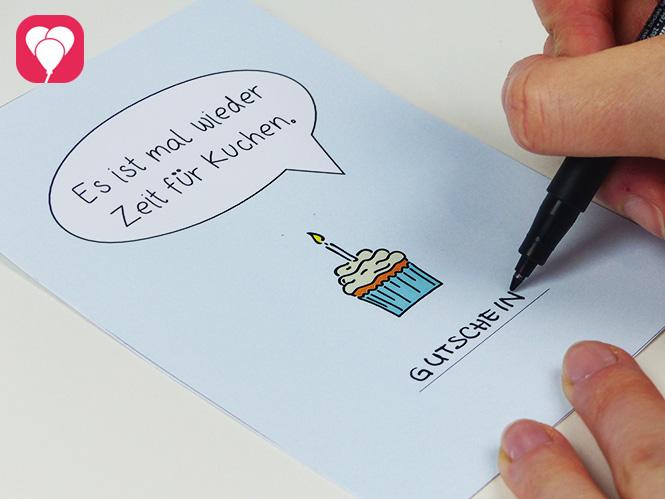 Zeit für Kuchen Postkarte herunterladen und beschriften - als Gutscheinkarte