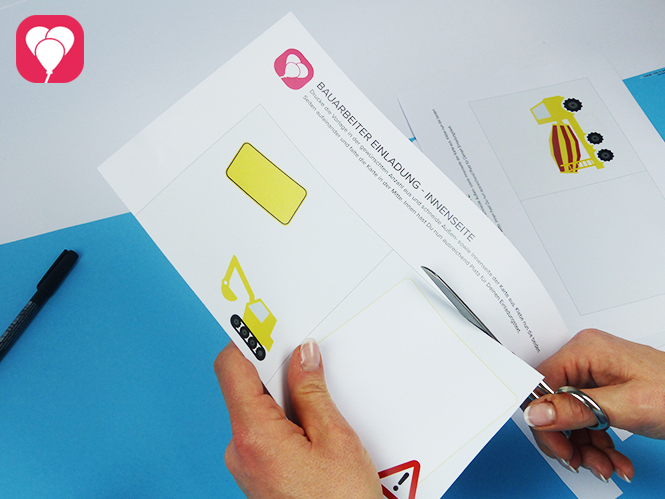 Bauarbeiter Einladungskarte - Vorlage ausschneiden