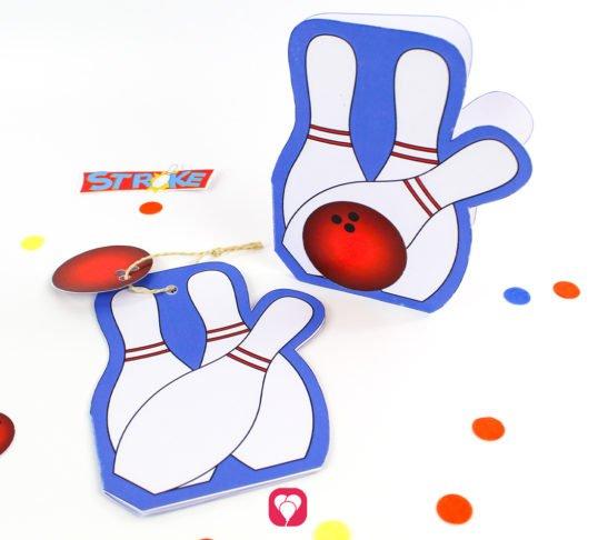 Bowling Karte für den Kindergeburtstag - balloonas