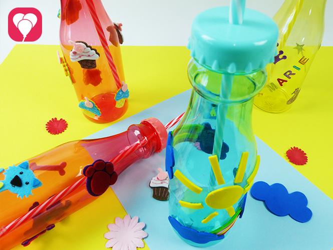 Bunte Trinkflaschen mit viel Spass dekorieren