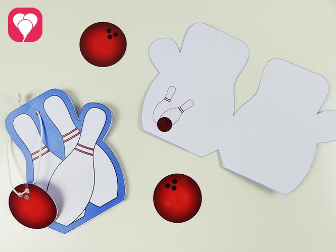 Einladung zum Bowling Kindergeburtstag basteln - Innen- und Aussenseite der Bowling Karte