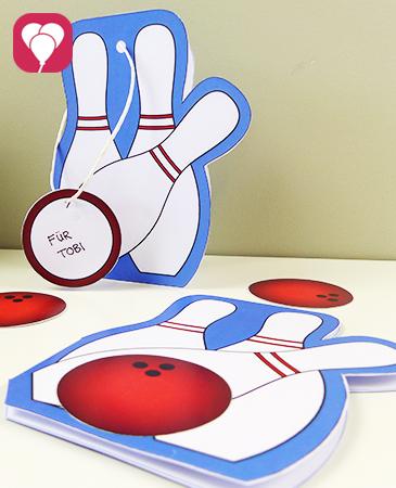 Einladung zum Bowling Kindergeburtstag mit Vorlage basteln